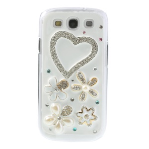 Beautiful Heart Flowers Diamante Hard Shell for Samsung Galaxy S3 I9300