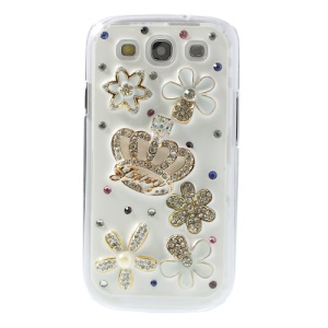 3D Crown & Flowers Sparkling Diamond Hard Shell for Samsung Galaxy S3 I9300