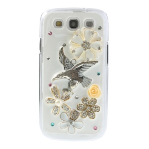 3D Blossom & Eagle Design Shiny Rhinestone Hard Cover for Samsung Galaxy S3 I9300
