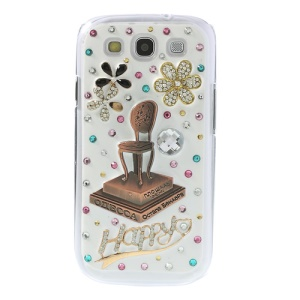 3D Chair on Platform Rhinestone Inlaid Hard Cover for Samsung Galaxy S3 I9300