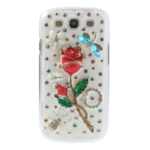 3D Diamond Inlaid Red Rose & Blue Dragon Fly Hard Case for Samsung Galaxy SIII I9300