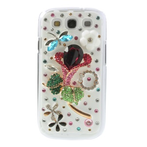 Sparkling Diamante Pretty Flower 3D Design Hard Shell for Samsung Galaxy S III I9300