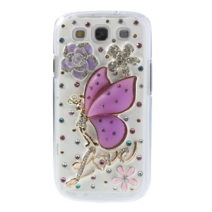 3D Purple Butterfly Fairy & Flowers for Samsung Galaxy S III I9300 Rhinestone PC Case