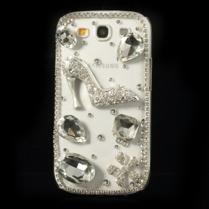 Diamond High Heel & Flower PC Crystal Case for Samsung Galaxy S3 I9300