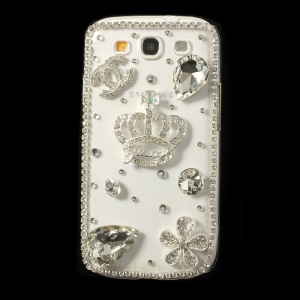 Deluxe Diamante Crown & Flower PC Crystal Cover for Samsung Galaxy S3 I9300