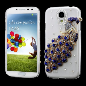 Luxury 3D Peacock Rhinestone Crystal Case for Samsung Galaxy S IV 4 i9500 i9505 - Dark Blue