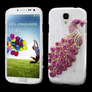 Luxury 3D Peacock Rhinestone Case Cover for Samsung Galaxy S IV 4 i9500 i9505 - Rose