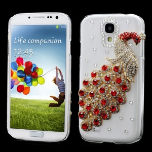 Luxury 3D Peacock Rhinestone Case Shell for Samsung Galaxy S IV 4 i9500 i9505 - Red