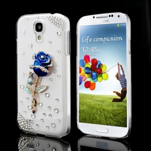 Glittering 3D Blue Rose Diamond Case Cover for Samsung Galaxy S IV 4 i9500 i9505