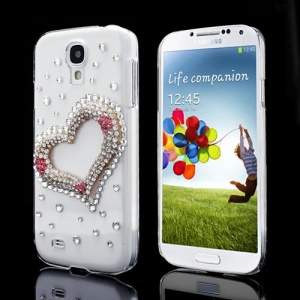 Sparkling Diamond Heart Crystal Case Cover for Samsung Galaxy S IV 4 i9500 i9505