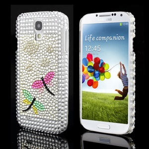 Shiny Diamond Pearl Vivid Dragonfly Hard Cover for Samsung Galaxy S IV 4 i9500 i9505