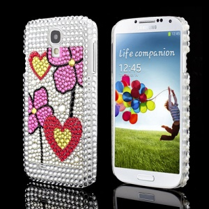 High Quality Pretty Flowers Hearts Samsung Galaxy S IV 4 i9500 i9505 Diamond Cover Case