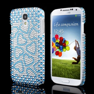 Sparkle Blue Hearts Crystal Diamante Rhinestone Case for Samsung Galaxy S IV 4 i9500 i9505