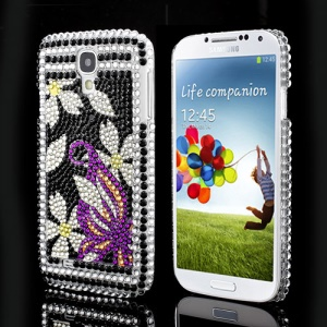 Blossom Bling Rhinestone Crystal Hard Shell Case for Samsung Galaxy S IV 4 i9500 i9505