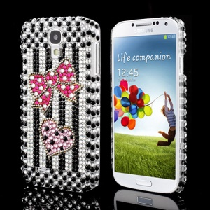 Lovely Bowknot Heart Vertical Stripe Diamond Case for Samsung Galaxy S IV 4 i9500 i9505