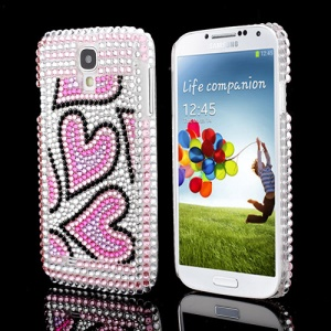 Shiny Hearts Rhinestone Crystal Hard Case Shell for Samsung Galaxy S IV 4 i9500 i9505