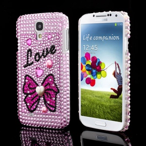 Samsung Galaxy S IV 4 i9500 i9505 Love Bowknot Pearl Rhinestones Hard Case