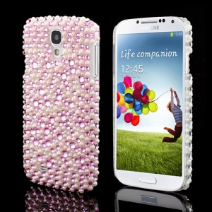 Stylish Pink Diamond White Pearl Hard Cover Shell for Samsung Galaxy S IV 4 i9500 i9505