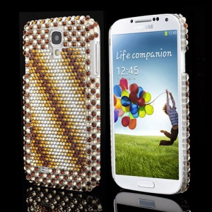 Samsung Galaxy S IV 4 i9500 i9505 Brown Twill Stripe Design Diamond Case