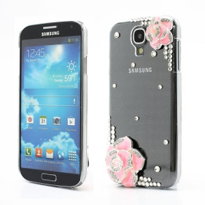Pink Floral Rhinestone Case Shell for Samsung Galaxy S4 i9500 i9505