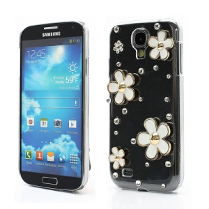 3D White Flower Rhinestone Case for Samsung Galaxy S4 i9500 i9505