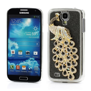 Glittery Powder Leather Skin 3D Diamante Peacock Plating Hard Case for Samsung Galaxy S IV 4 i9500 i9505 - Black