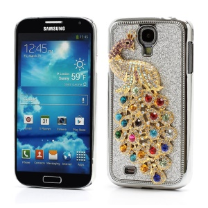 Glittery Powder Leather Skin 3D Diamante Peacock Plating Hard Case for Samsung Galaxy S IV 4 i9500 i9505 - Silver