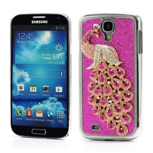 Glittery Powder Leather Skin 3D Diamante Peacock Plating Hard Case for Samsung Galaxy S IV 4 i9500 i9505 - Rose