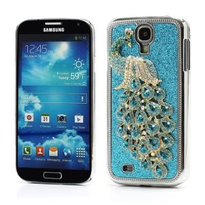Glittery Powder Leather Skin 3D Diamante Peacock Plating Hard Case for Samsung Galaxy S IV 4 i9500 i9505 - Blue