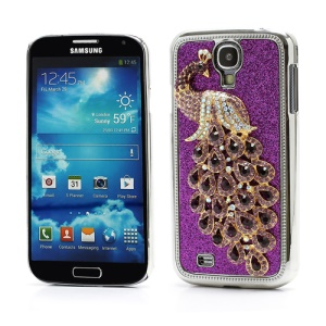 Glittery Powder Leather Skin 3D Diamante Peacock Plating Hard Case for Samsung Galaxy S IV 4 i9500 i9505 - Purple