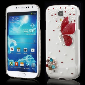 3D Butterfly Flowers Pearl Diamante Case Cover for Samsung Galaxy S4 i9500 i9502 i9505 - Red