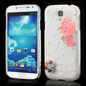 3D Butterfly Flowers Pearl Diamante Case Cover for Samsung Galaxy S4 i9500 i9502 i9505 - Pink