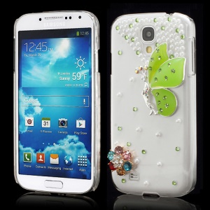3D Butterfly Flowers Pearl Diamante Case Cover for Samsung Galaxy S4 i9500 i9502 i9505 - Green