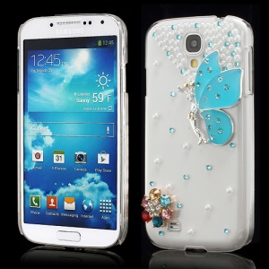 3D Butterfly Flowers Pearl Diamante Case Cover for Samsung Galaxy S4 i9500 i9502 i9505 - Blue