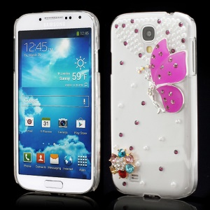 3D Butterfly Flowers Pearl Diamante Case Cover for Samsung Galaxy S4 i9500 i9502 i9505 - Purple