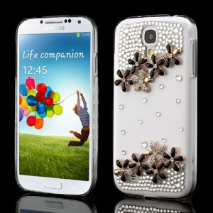 Black Flower Bling Diamond Crystal Cover for Samsung Galaxy S4 I9505 I9500