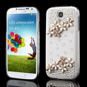 White Flower Bling Diamond Crystal Covers for Samsung Galaxy S IV I9505 I9500