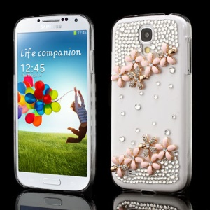 Pink Flower Bling Diamond Crystal Case for Samsung Galaxy S IV I9502 I9500