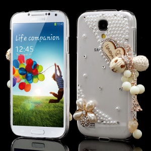 Diamante Heart Flower Pearl Pendant Crystal Case for Samsung Galaxy S4 I9502 I9500