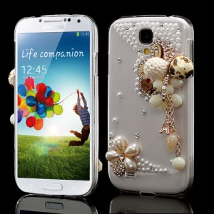 3D Pearl Flower Rabbit Pendant Decorative For Samsung Galaxy S4 I9500 Crystal Case