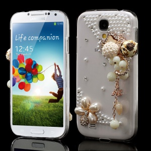 For Samsung Galaxy S4 I9505 I9500 Crystal Case Cute Cat Bling Diamond Pearl Pendant