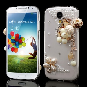 Lovely Bear Flower Rhinestone Pear Crystal Case for Samsung Galaxy S4 I9505 I9500
