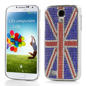 UK Flag Bling Rhinestone Electroplating Hard Case for Samsung Galaxy S IV 4 i9500 i9505 i9502