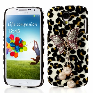 3D Diamante Butterfly Leopard Leather Skin Hard Case for Samsung Galaxy S4 IV i9500 - Black / White