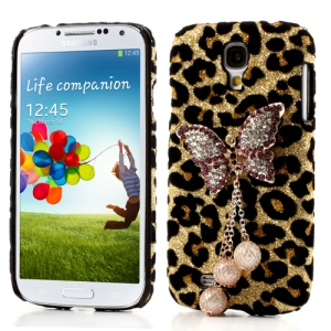 3D Diamond Butterfly Leopard Leather Coated Hard Cover for Samsung Galaxy S4 IV i9500 - Black / Gold