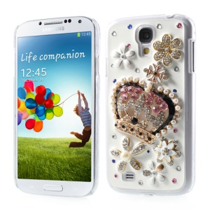 3D Crown & Flower Pearl Diamond Inlaid Hard Case for Samsung Galaxy S4 IV i9500