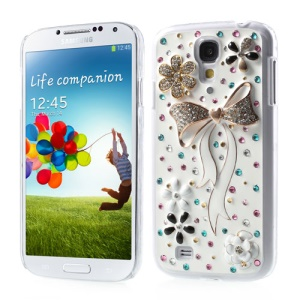 For Samsung Galaxy S4 IV i9500 3D Flower & White Bowknot Bling Bling Rhinestone Hard Cover