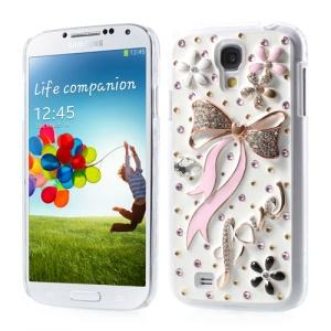 For Samsung Galaxy S4 IV i9500 Elegant Pink Bowknot Bling Bling Rhinestone Hard Cover