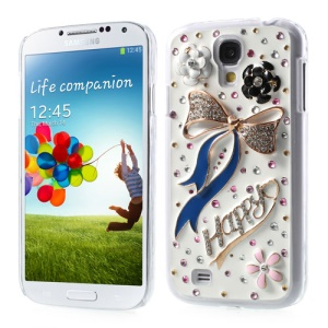 For Samsung Galaxy S4 IV i9500 3D Flower & Blue Bowknot Sparkling Rhinestone Hard Case