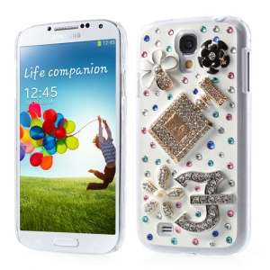 3D Perfume Bottle & Flowers Bling Bling Rhinestone Hard Shell for Samsung Galaxy S4 IV i9502